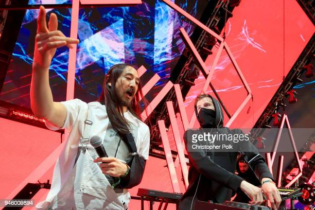 Recording Artists Steve Aoki and Alan Walker perform onstage during the 2018 Coachella Valley Music And Arts Festival at the Empire Polo Field on...
