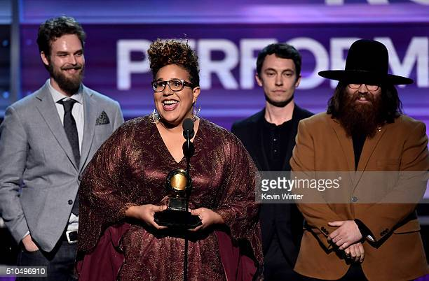 Recording artists Steve Johnson Brittany Howard Heath Fogg and Zac Cockrell of music group Alabama Shakes accept the Best Rock Performance award for...