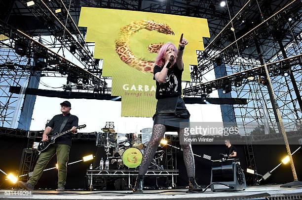 Recording artists Steve Marker and Shirley Manson of music group Garbage perform onstage at KROQ Weenie Roast 2016 at Irvine Meadows Amphitheatre on...