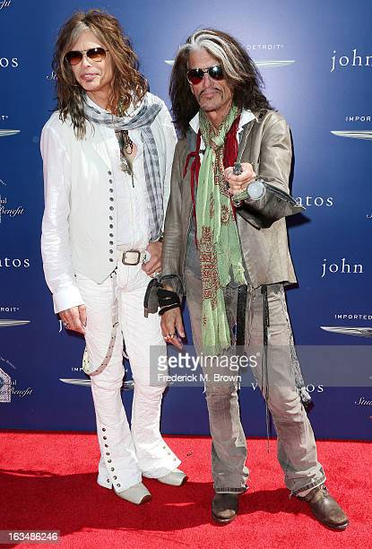 Recording artists Steven Tyler and Joe Perry attend John Varvatos 10th Annual Stuart House Benefit Presented by Chrysler at John Varvatos Los Angeles...