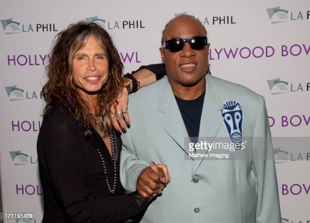Recording artists Steven Tyler and Stevie Wonder attend Hollywood Bowl Opening Night Gala Inside at The Hollywood Bowl on June 22 2013 in Los Angeles...