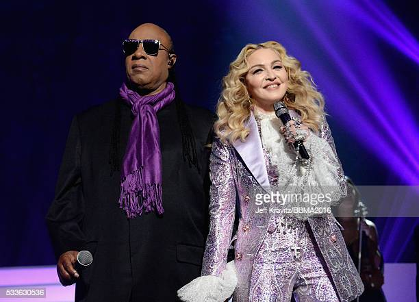 Recording artists Stevie Wonder and Madonna perform a tribute to Prince onstage during the 2016 Billboard Music Awards at TMobile Arena on May 22...