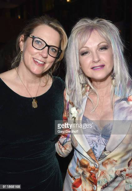 Recording artists Susan Tedeschi and Cyndi Lauper attend the Concord Music Group Grammy party at Bryant Park Grill on January 28 2018 in New York City