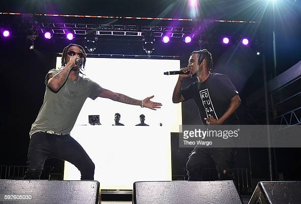 Recording artists Swae Lee and Slim Jimmy of Rae Sremmurd perform onstage during the 2016 Billboard Hot 100 Festival Day 1 at Nikon at Jones Beach...