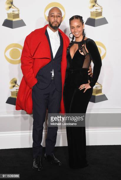 Recording artists Swizz Beatz and Alicia Keys pose in the press room during the 60th Annual GRAMMY Awards at Madison Square Garden on January 28 2018...