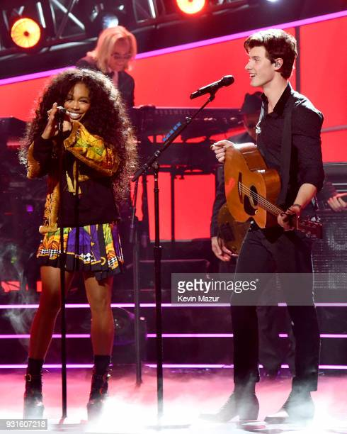 Recording artists SZA and Shawn Mendes perform onstage during 60th Annual GRAMMY Awards I'm Still Standing A GRAMMY Salute To Elton John at the...