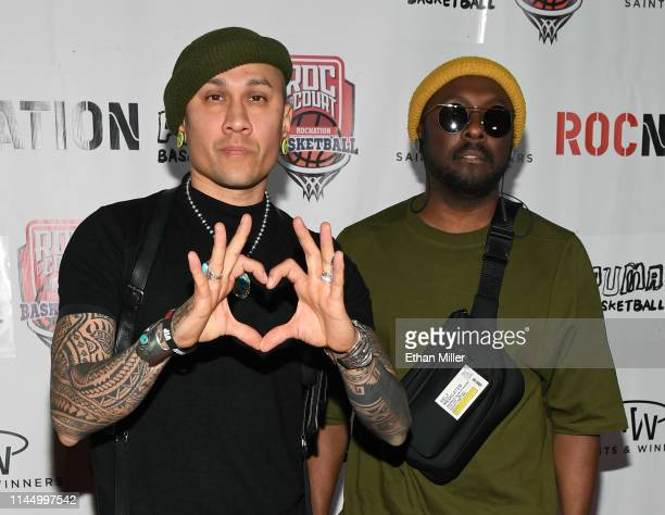Recording artists Taboo and will.i.am arrive at Roc Nation's Roc da Court all-star basketball game benefiting the Boys & Girls Clubs of Southern...
