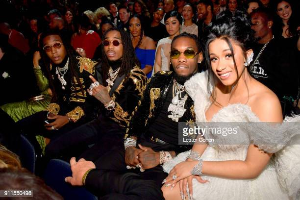 Recording artists Takeoff Quavo and Offset of Migos and Cardi B attend attend the 60th Annual GRAMMY Awards at Madison Square Garden on January 28...