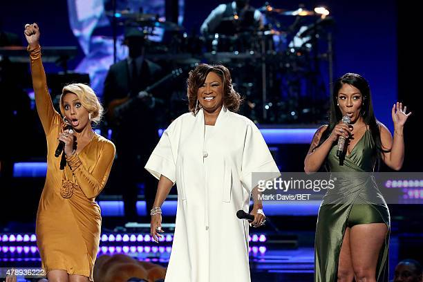 Recording artists Tamar Braxton Patti LaBelle and KMichelle perform onstage during the 2015 BET Awards at the Microsoft Theater on June 28 2015 in...
