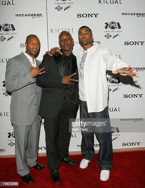Recording artists Tank Tyrese and Ginuwine arrive to Zomba Label Group's PreBET Awards Party featuring Ciara held at Ritual Nightclub on June 25 2007...