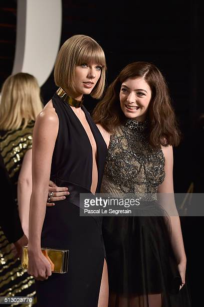 Recording artists Taylor Swift and Lorde attend the 2016 Vanity Fair Oscar Party Hosted By Graydon Carter at the Wallis Annenberg Center for the...