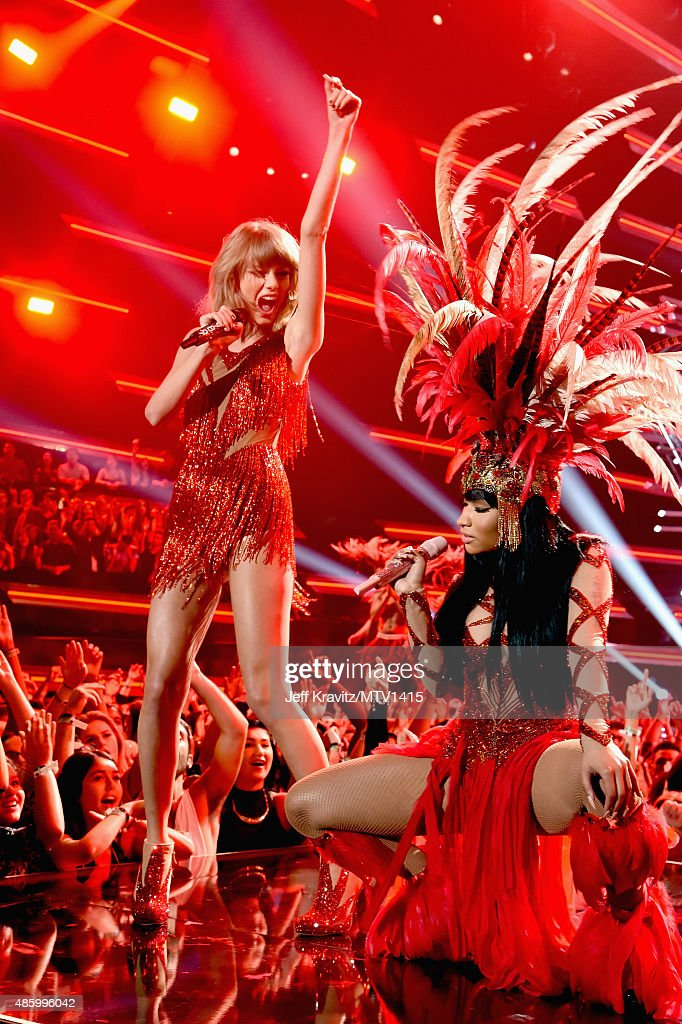 Recording artists Taylor Swift (L) and Nicki Minaj perform onstage during the 2015 MTV Video Music Awards at Microsoft Theater on August 30, 2015 in Los Angeles, California.
