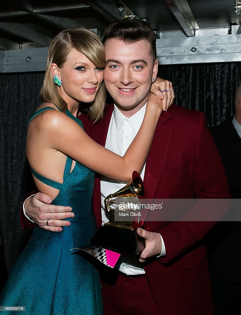 Recording artists Taylor Swift and Sam Smith attend The 57th Annual GRAMMY Awards at STAPLES Center on February 8, 2015 in Los Angeles, California.