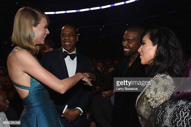 Recording Artists Taylor Swift Jay Z and Kanye West and tv personality Kim Kardashian attend The 57th Annual GRAMMY Awards at the STAPLES Center on...