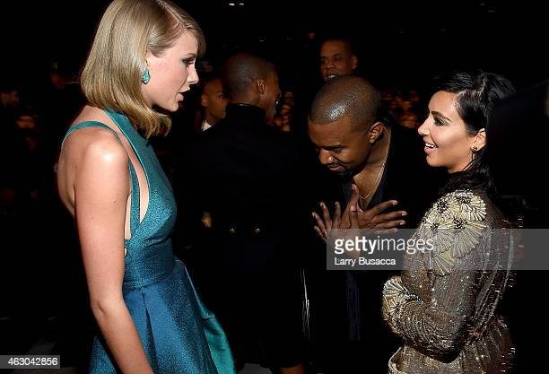 Recording Artists Taylor Swift Kanye West and tv personality Kim Kardashian attend The 57th Annual GRAMMY Awards at the STAPLES Center on February 8...