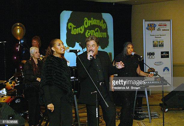 Recording artists Telma Hopkins Tony Orlando and Joyce Vincent of Tony Orlando and Dawn perform during the Second Annual TV DVD Conference at the...