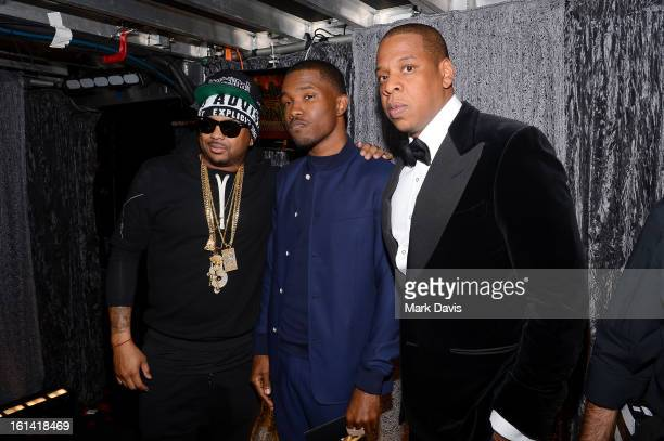 Recording Artists The Dream Frank Ocean and JayZ attend the 55th Annual GRAMMY Awards at STAPLES Center on February 10 2013 in Los Angeles California
