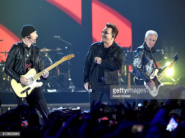 Recording artists The Edge Bono and Adam Clayton of U2 perform onstage at the 2016 iHeartRadio Music Festival at TMobile Arena on September 23 2016...
