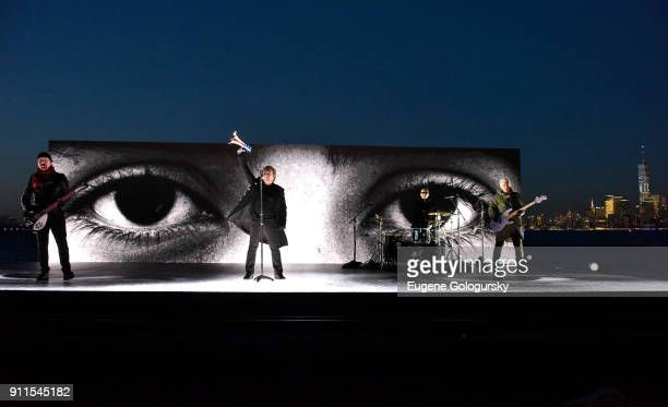 Recording artists The Edge Bono Larry Mullen Jr and Adam Clayton of U2 perform remotely during the 60th Annual GRAMMY Awards at Madison Square Garden...