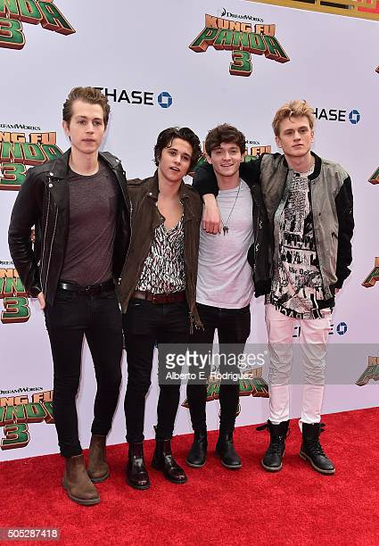Recording artists The Vamps attend the premiere of DreamWorks Animation and Twentieth Century Fox's 'Kung Fu Panda 3' at TCL Chinese Theatre on...
