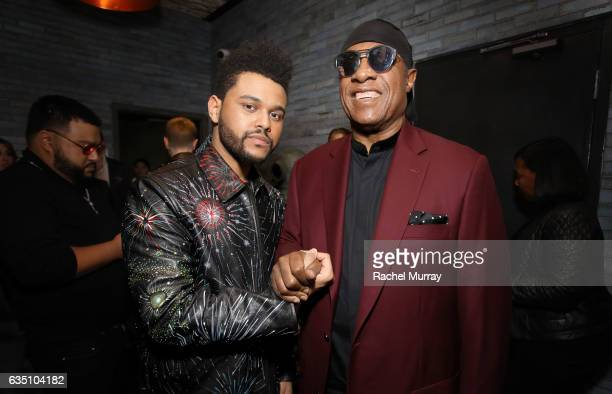 Recording artists The Weeknd and Stevie Wonder at a celebration of music with Republic Records, in partnership with Absolut and Pryma, at Catch LA on...