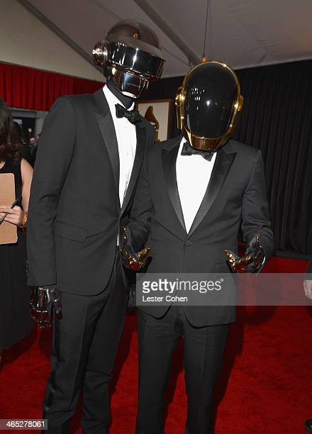 Recording artists Thomas Bangalter and GuyManuel de HomemChristo of Daft Punk attend the 56th GRAMMY Awards at Staples Center on January 26 2014 in...