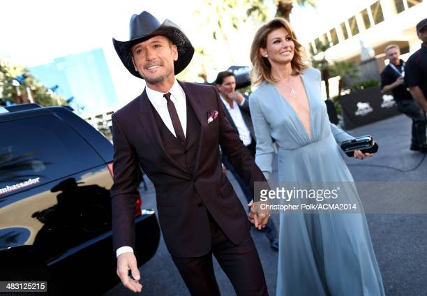 Recording artists Tim McGraw and Faith Hill attend the 49th Annual Academy of Country Music Awards at the MGM Grand Garden Arena on April 6 2014 in...