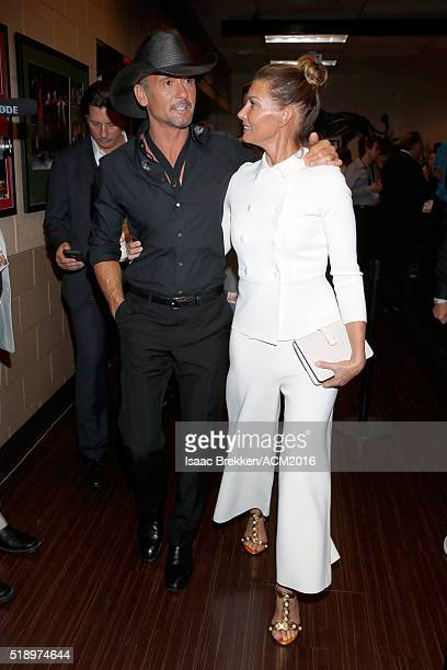 Recording artists Tim McGraw and Faith Hill attend the 51st Academy of Country Music Awards at MGM Grand Garden Arena on April 3 2016 in Las Vegas...