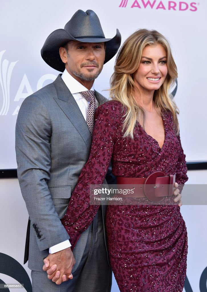 Recording artists Tim McGraw (L) and Faith Hill attend the 52nd Academy Of Country Music Awards at Toshiba Plaza on April 2, 2017 in Las Vegas, Nevada.