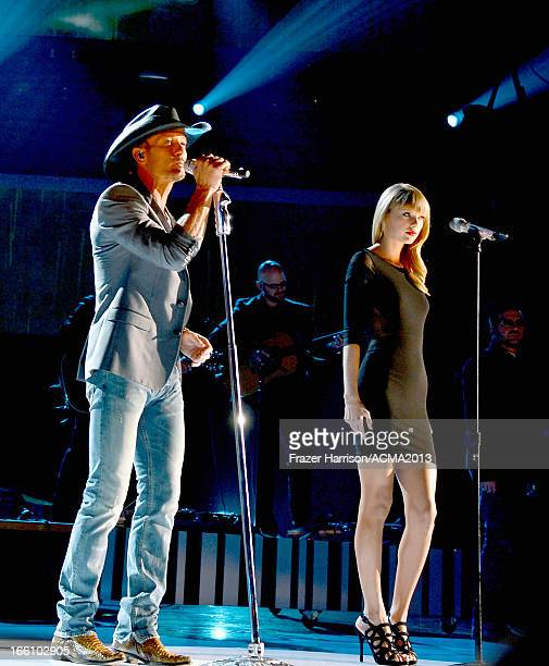 Recording artists Tim McGraw and Taylor Swift perform onstage during Tim McGraw's Superstar Summer Night presented by the Academy of Country Music at...