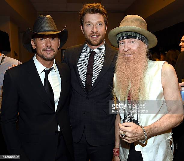 Recording artists Tim McGraw Brett Eldredge and Billy Gibbons of ZZ Top attend the 51st Academy of Country Music Awards at MGM Grand Garden Arena on...