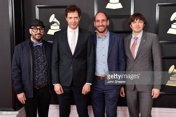 Recording artists Tim Nordwind Damian Kulash Dan Konopka and Andy Ross of music group OK Go attend The 59th GRAMMY Awards at STAPLES Center on...