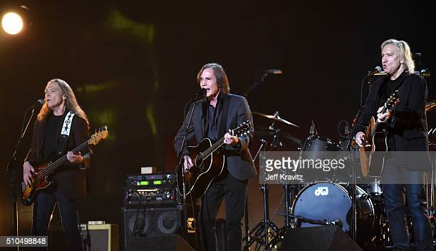 Recording artists Timothy B. Schmit, Jackson Browne, and Joe Walsh perform onstage during The 58th GRAMMY Awards at Staples Center on February 15,...