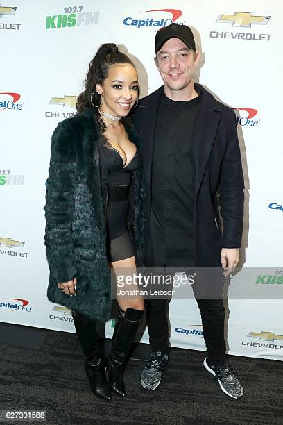 Recording artists Tinashe and Diplo attend 1027 KIIS FM's Jingle Ball 2016 presented by Capital One at Staples Center on December 2 2016 in Los...