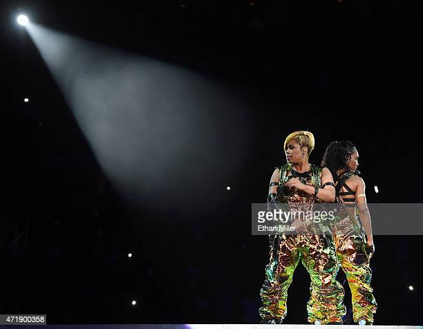 Recording artists Tionne TBoz Watkins and Rozonda Chilli Thomas of TLC perform during the kickoff of The Main Event tour at the Mandalay Bay Events...