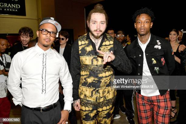 Recording artists Tip 'TI' Harris Post Malone and 21 Savage backstage at the 2018 Billboard Music Awards at MGM Grand Garden Arena on May 20 2018 in...