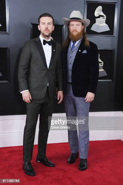 Recording artists TJ Osborne and John Osborne of Brothers Osborne attend the 60th Annual GRAMMY Awards at Madison Square Garden on January 28 2018 in...