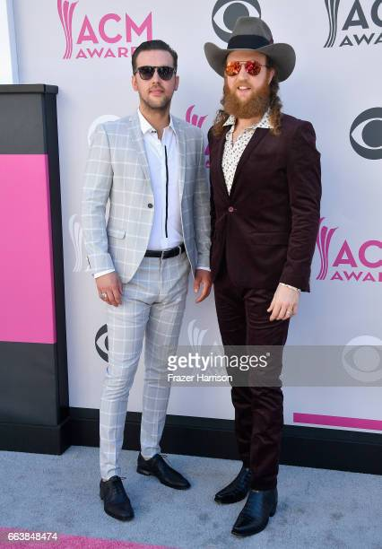 Recording artists TJ Osborne and John Osborne of music group Brothers Osborne attend the 52nd Academy Of Country Music Awards at Toshiba Plaza on...
