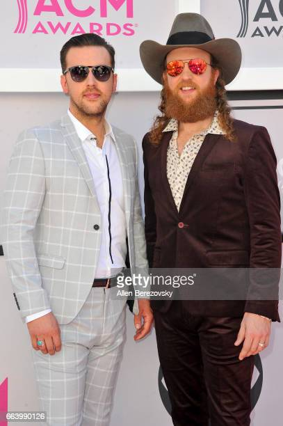 Recording artists TJ Osborne and John Osborne of music group Brothers Osborne arrive at the 52nd Academy Of Country Music Awards on April 2 2017 in...