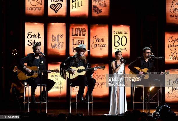 Recording artists TJ Osborne and John Osborne of musical group Brothers Osborne recording artist Maren Morris and recording artist Eric Church...