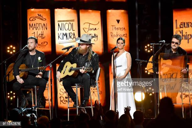 Recording artists TJ Osborne and John Osborne of musical group Brothers Osborne Maren Morris and Eric Church perform onstage during the 60th Annual...