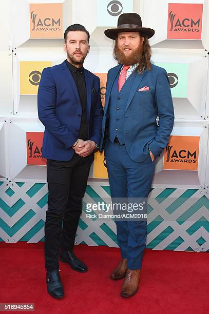Recording artists TJ Osborne and John Osbourne of the Brothers Osborne attend the 51st Academy of Country Music Awards at MGM Grand Garden Arena on...