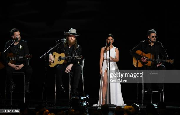 Recording artists TJ Osborne John Osborne Maren Morris and Eric Church perform onstage during the 60th Annual GRAMMY Awards at Madison Square Garden...