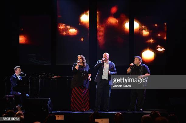 Recording Artists Todd Smith Allan Hall and Amy Perry of Selah along with Recording Artist Michael English perform onstage during the 3rd Annual GMA...