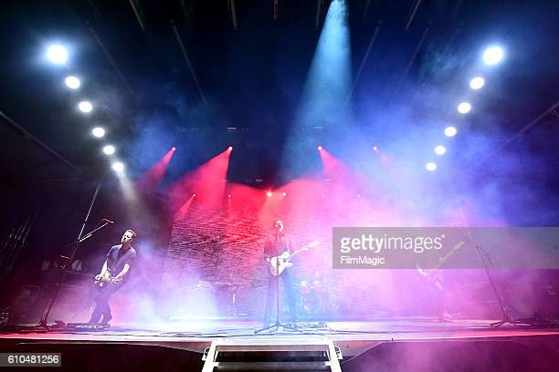 Recording artists Tom Linton Jim Adkins Zach Lind and Rick Burch of Jimmy Eat World perform on Ambassador Stage during day 3 of the 2016 Life Is...