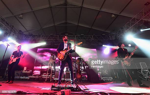 Recording artists Tom Renaud Brandon Walters Ben Schneider Mark Barry and Miguel Briseno of Lord Huron performs onstage at This Tent during Day 4 of...