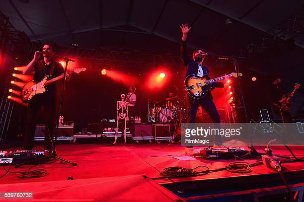 Recording artists Tom Renaud Brandon Walters Mark Barry Ben Schneider and Miguel Briseno of Lord Huron performs onstage at This Tent during Day 4 of...