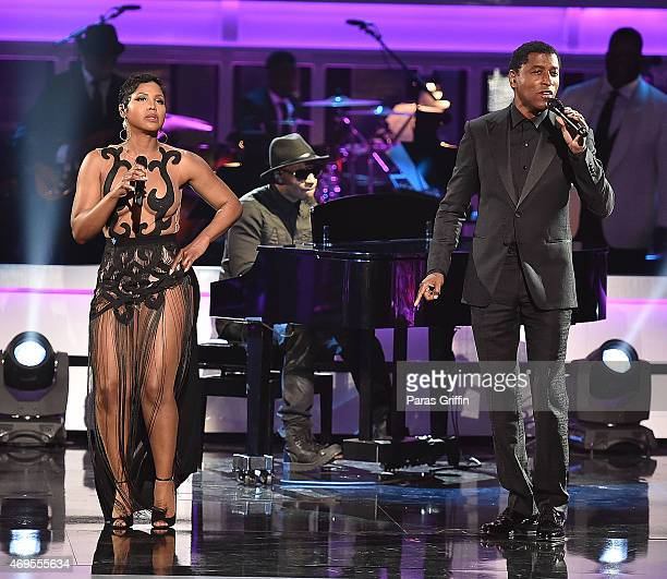 Recording artists Toni Braxton and Kenneth 'Babyface' Edmonds perform onstage at UNCF 'An Evening Of Stars' at the Boisfeuillet Jones Atlanta Civic...