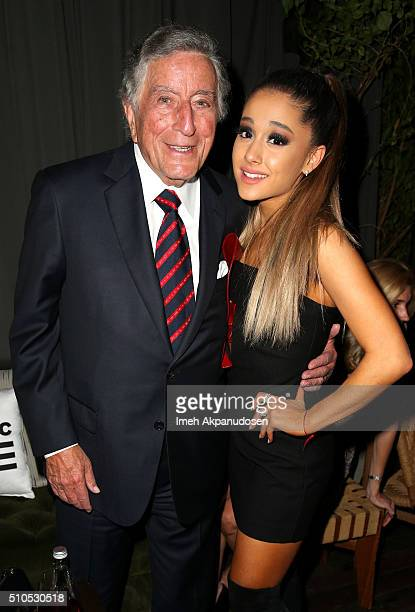 Recording artists Tony Bennett and Ariana Grande attend the Republic Records Grammy Celebration presented by Chromecast Audio at Hyde Sunset Kitchen...