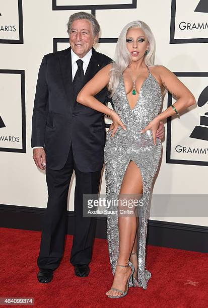 Recording artists Tony Bennett and Lady Gaga arrive at the 57th Annual GRAMMY Awards at Staples Center on February 8 2015 in Los Angeles California